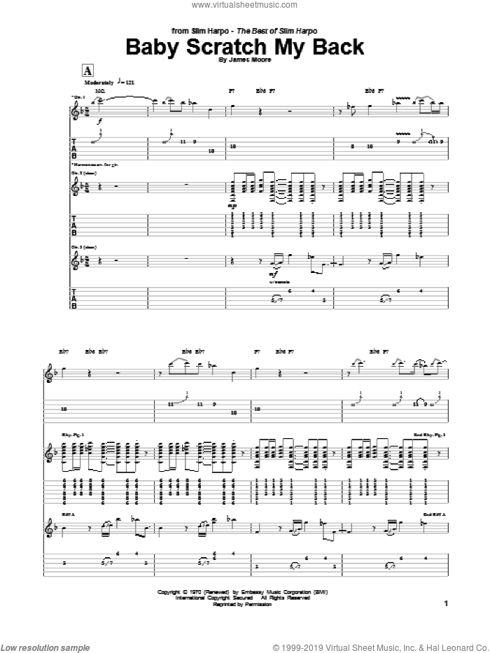 Baby, Scratch My Back sheet music for guitar (tablature) by Slim Harpo and James Moore, intermediate skill level