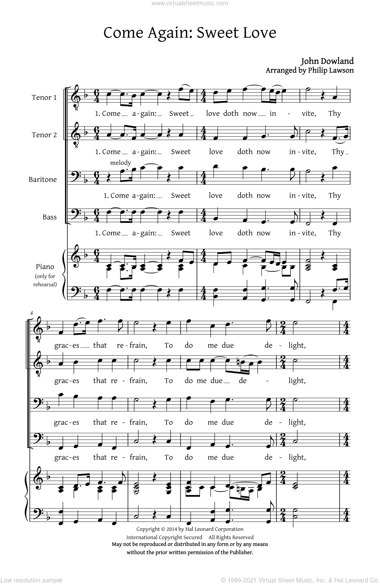 Come Again, Sweet Love (Collection) sheet music for choir (TTBB: tenor, bass) by Philip Lawson and John Dowland, intermediate. Score Image Preview.