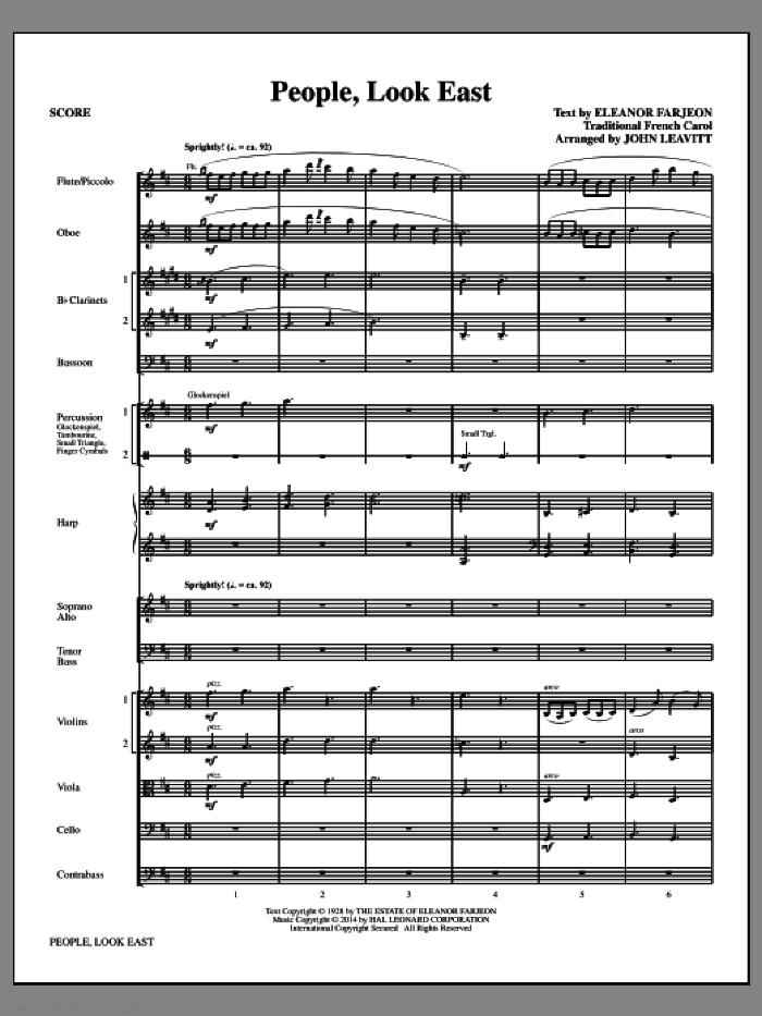 People, Look East (COMPLETE) sheet music for orchestra/band by John Leavitt, intermediate. Score Image Preview.