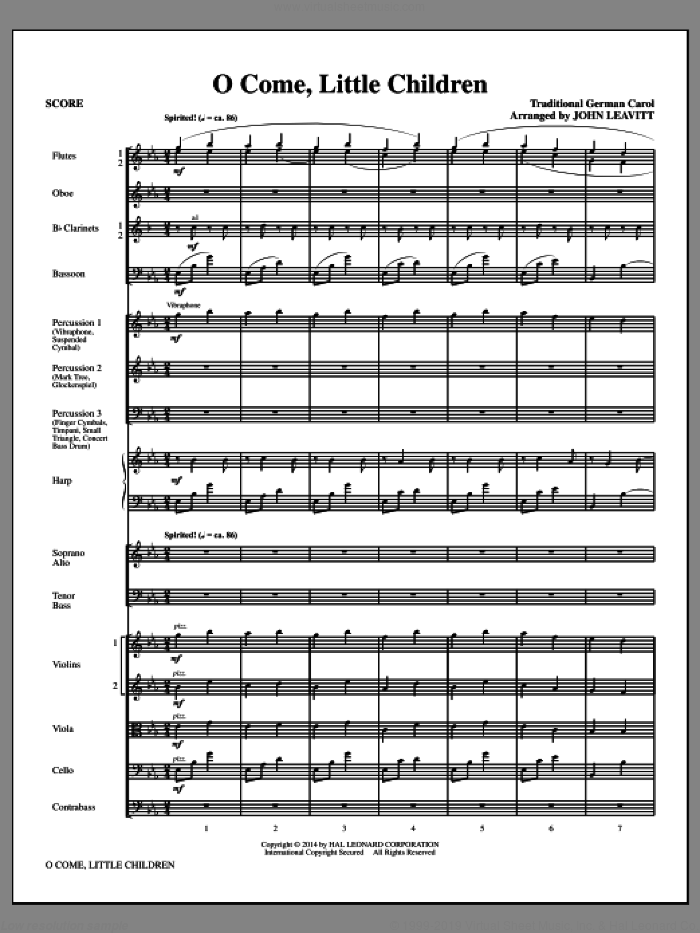 O Come, Little Children (COMPLETE) sheet music for orchestra/band (chamber ensemble) by John Leavitt, Cristoph Von Schmid and J.A.P. Schulz, intermediate. Score Image Preview.