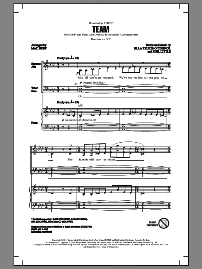 Team sheet music for choir (SATB) by Joel Little, Lorde and Mac Huff. Score Image Preview.