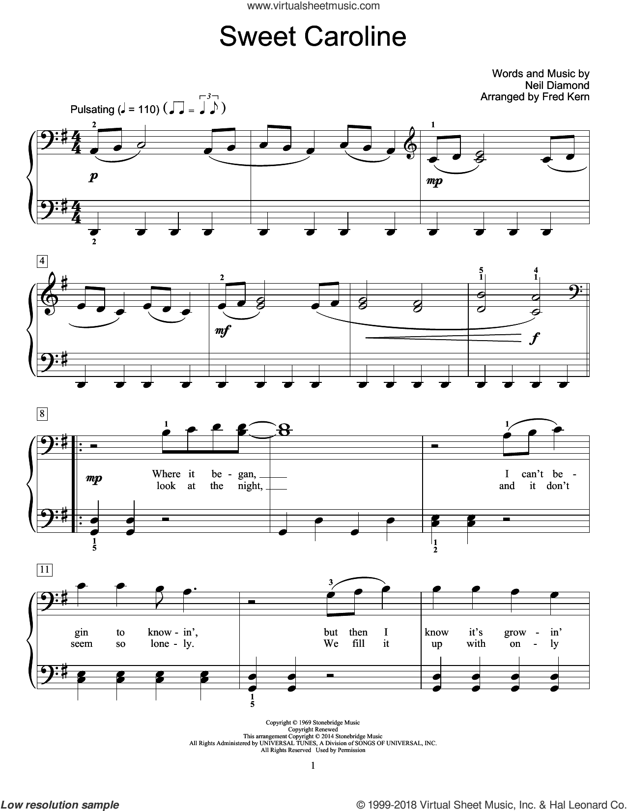 Sweet Caroline sheet music for piano solo (elementary) by Neil Diamond and Fred Kern. Score Image Preview.