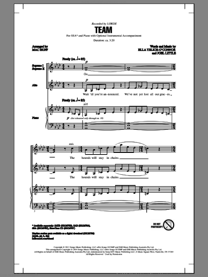 Team sheet music for choir (SSA: soprano, alto) by Mac Huff, Lorde and Joel Little, intermediate skill level