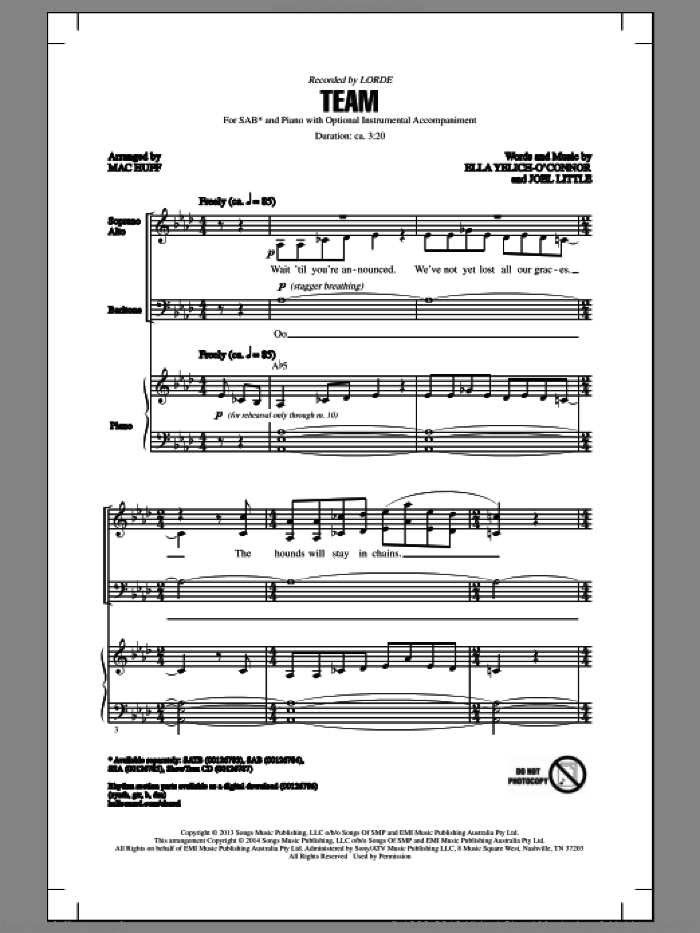 Team sheet music for choir and piano (SAB) by Joel Little, Lorde and Mac Huff. Score Image Preview.