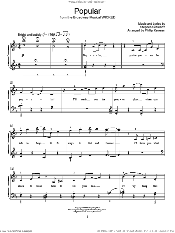 Popular sheet music for piano solo (elementary) by Stephen Schwartz and Phillip Keveren. Score Image Preview.