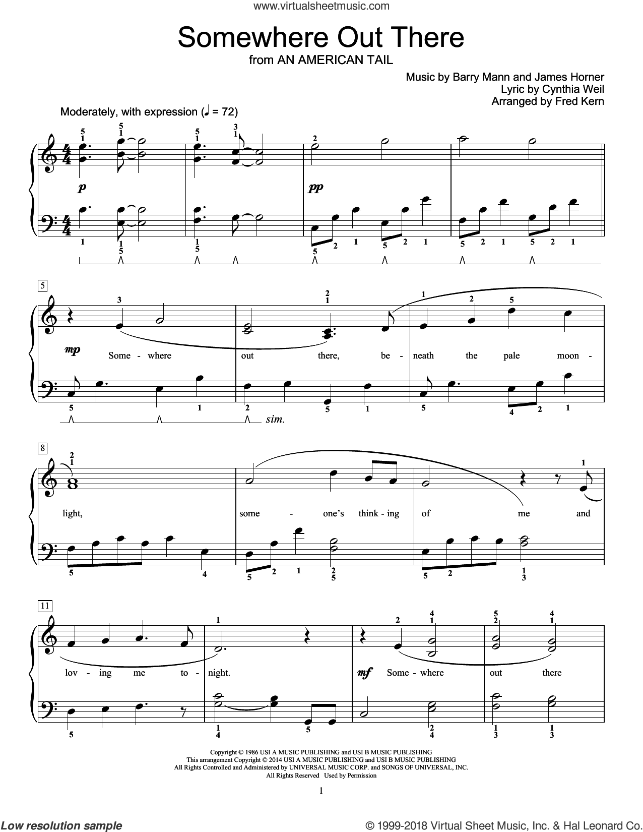Somewhere Out There sheet music for piano solo (elementary) by James Horner, Barry Mann, Cynthia Weil and Fred Kern, beginner piano (elementary)