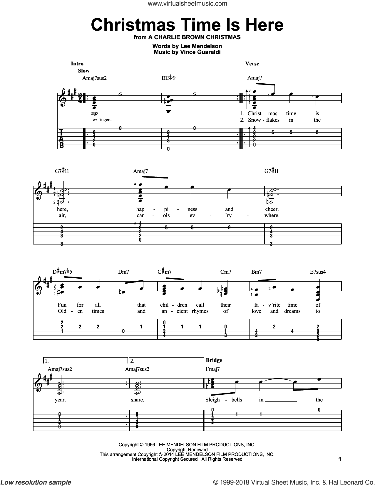 Christmas Time Is Here sheet music for guitar solo (easy tablature) by Vince Guaraldi and Lee Mendelson. Score Image Preview.