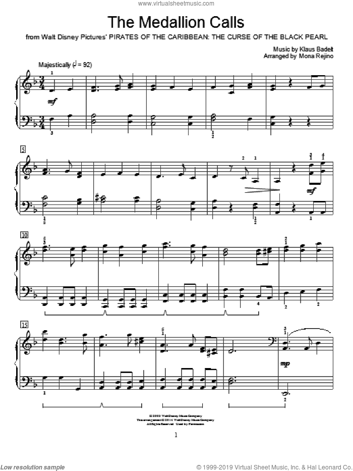 The Medallion Calls sheet music for piano solo (elementary) by Mona Rejino and Klaus Badelt. Score Image Preview.
