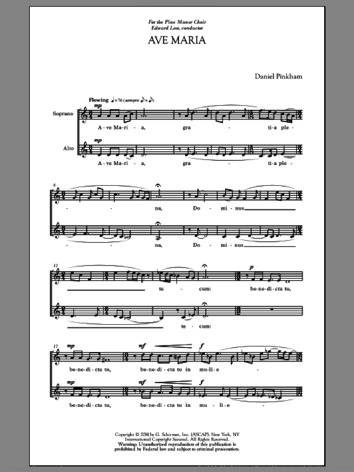 Two Classics For Treble Voices sheet music for choir (2-Part) by Dale Warland and Daniel Pinkham, classical score, intermediate duet