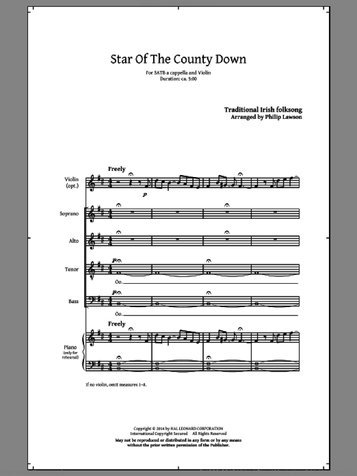 Star Of County Down sheet music for choir (SATB) by Philip Lawson and Miscellaneous. Score Image Preview.