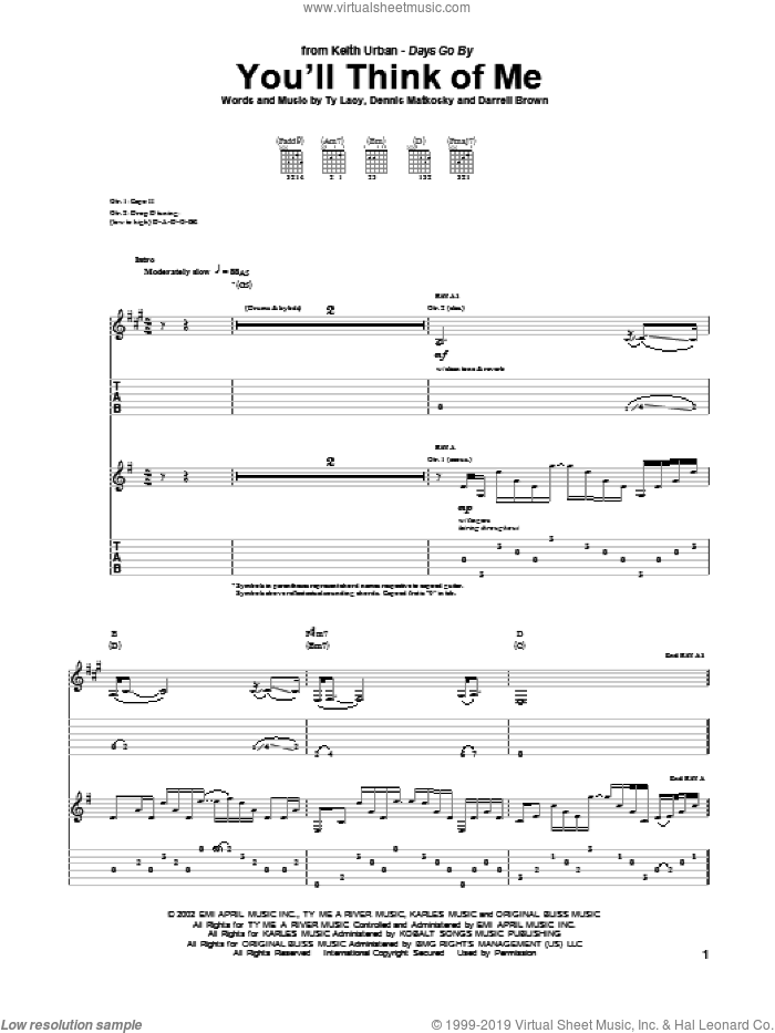 You'll Think Of Me sheet music for guitar (tablature) by Ty Lacy, Darrell Brown, Dennis Matkosky and Keith Urban. Score Image Preview.