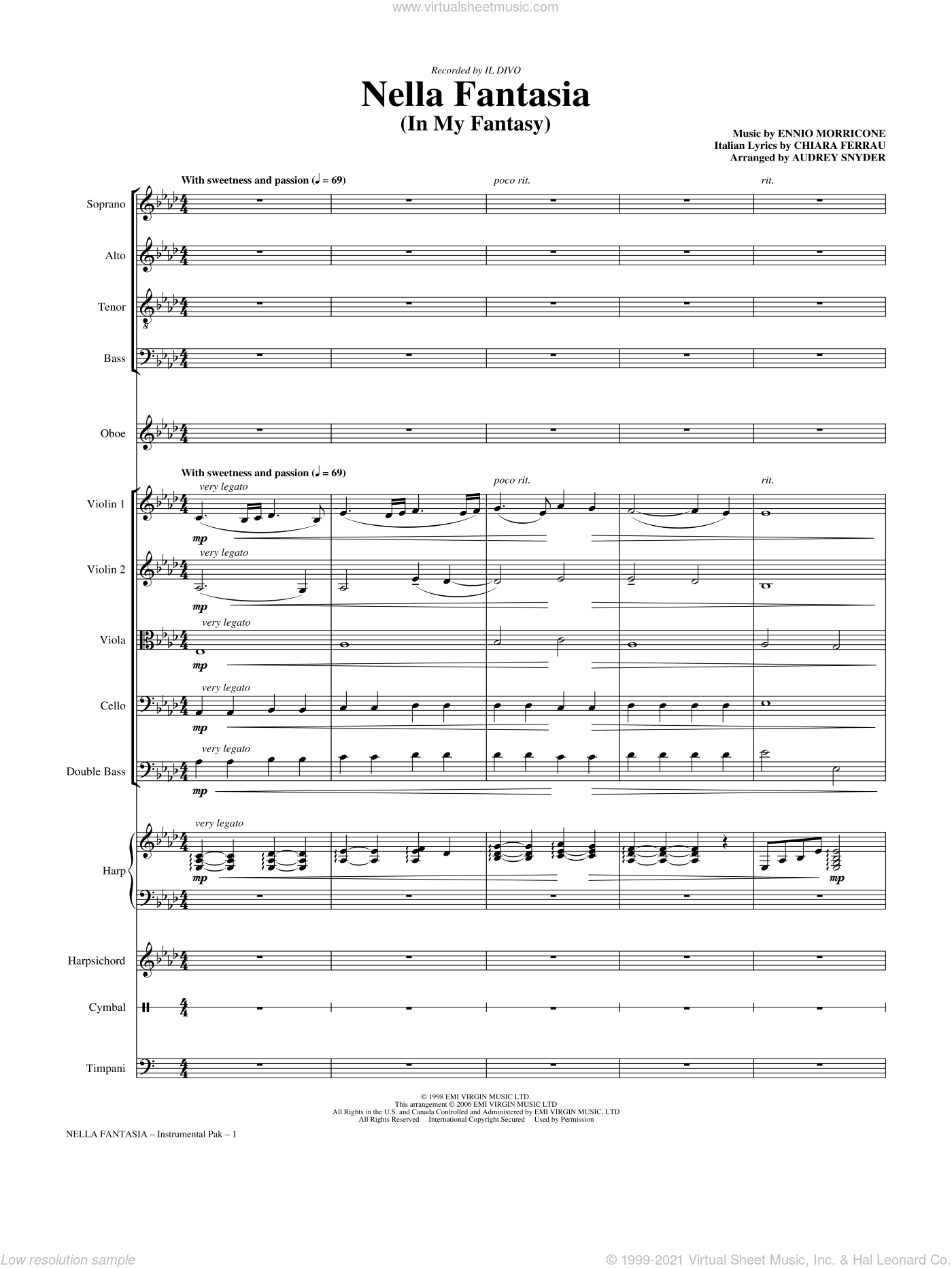 Nella Fantasia (In My Fantasy) sheet music for orchestra/band (Chamber) by Chiara Ferrau