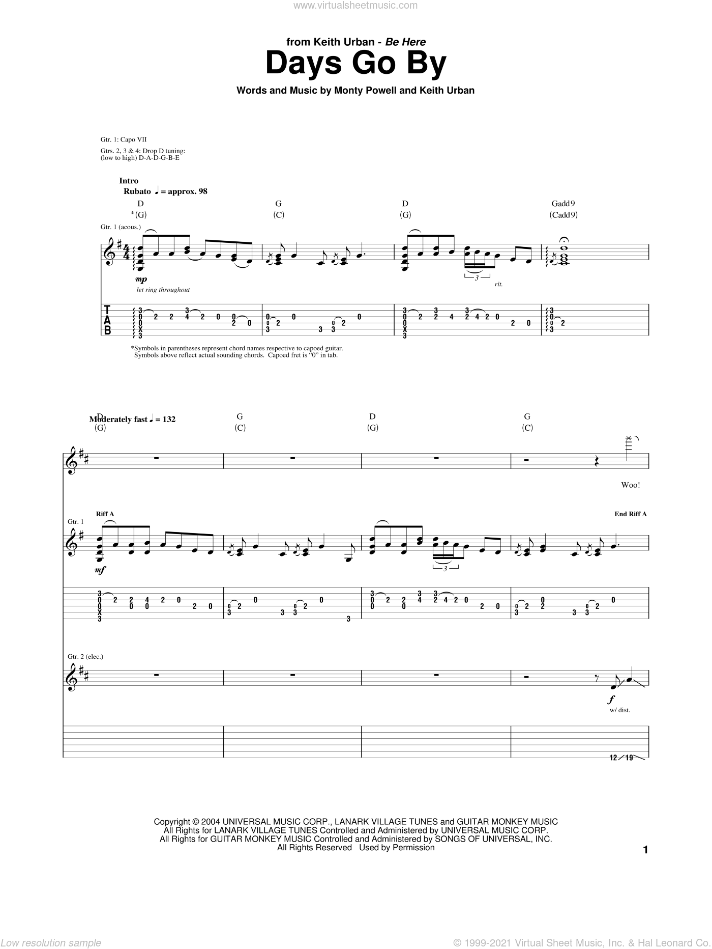 Days Go By sheet music for guitar (tablature) by Monty Powell and Keith Urban. Score Image Preview.