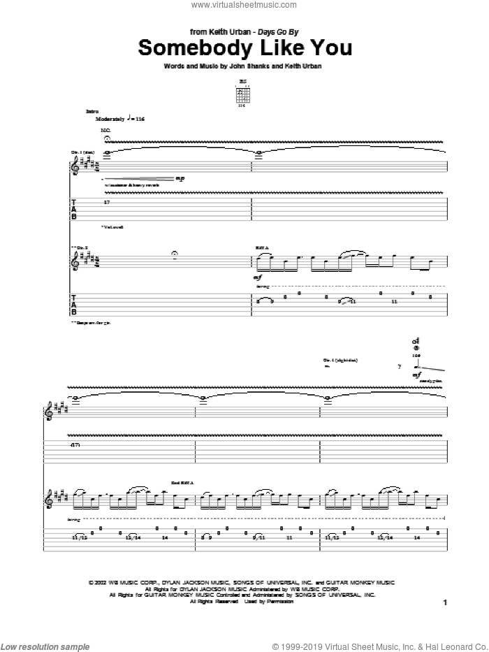 Somebody Like You sheet music for guitar (tablature) by John Shanks and Keith Urban. Score Image Preview.