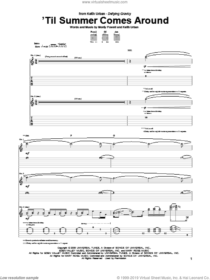 'Til Summer Comes Around sheet music for guitar (tablature) by Keith Urban and Monty Powell, intermediate. Score Image Preview.
