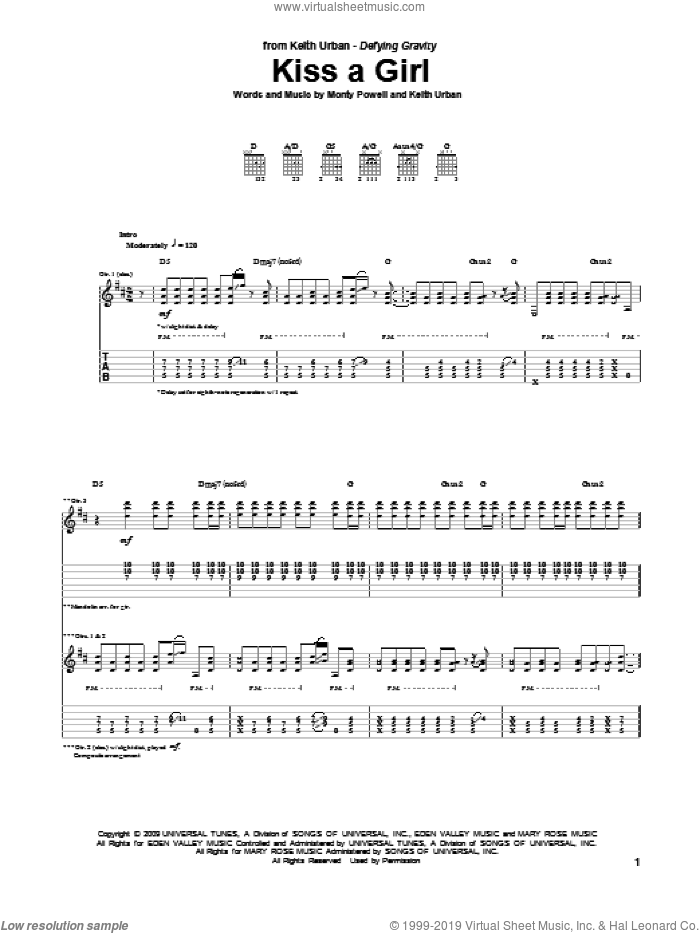 Kiss A Girl sheet music for guitar (tablature) by Keith Urban and Monty Powell. Score Image Preview.