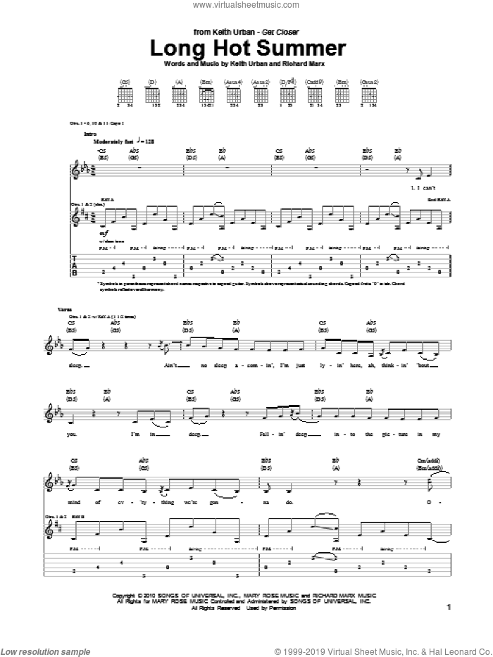 Long Hot Summer sheet music for guitar (tablature) by Keith Urban and Richard Marx, intermediate skill level