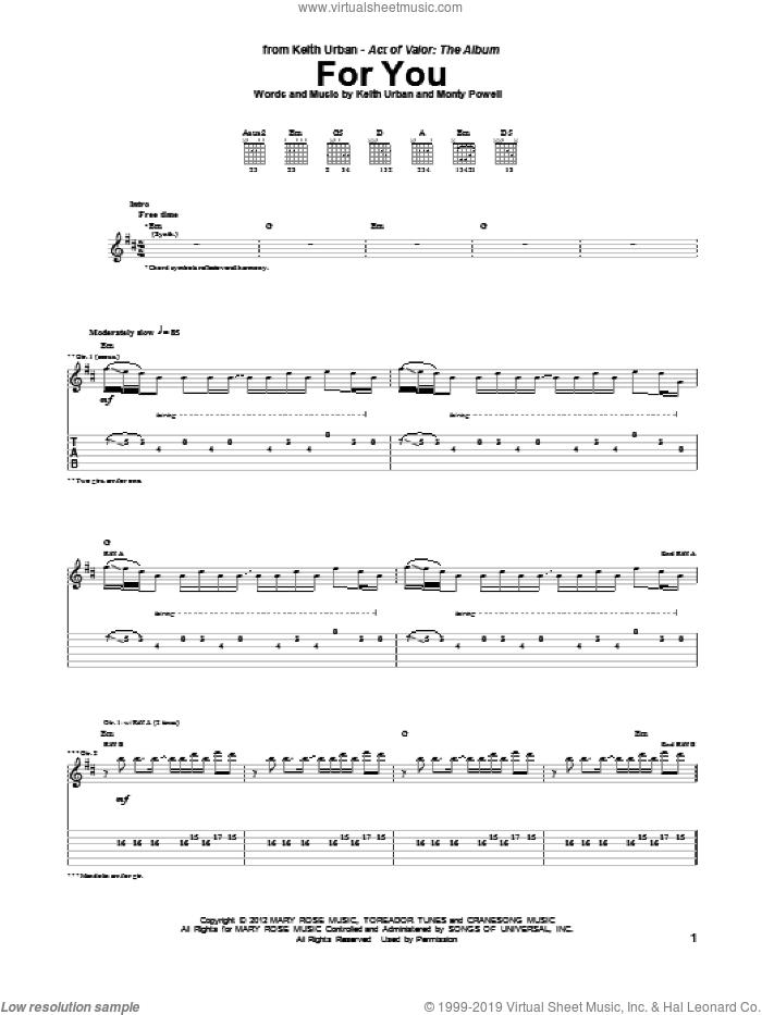 For You sheet music for guitar (tablature) by Keith Urban and Monty Powell, intermediate skill level