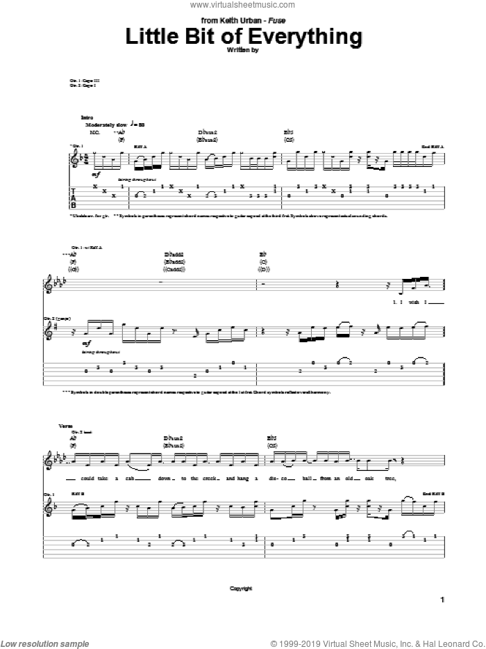 Little Bit Of Everything sheet music for guitar (tablature) by Keith Urban, Brad Warren, Brett Warren and Kevin Rudolf, intermediate. Score Image Preview.