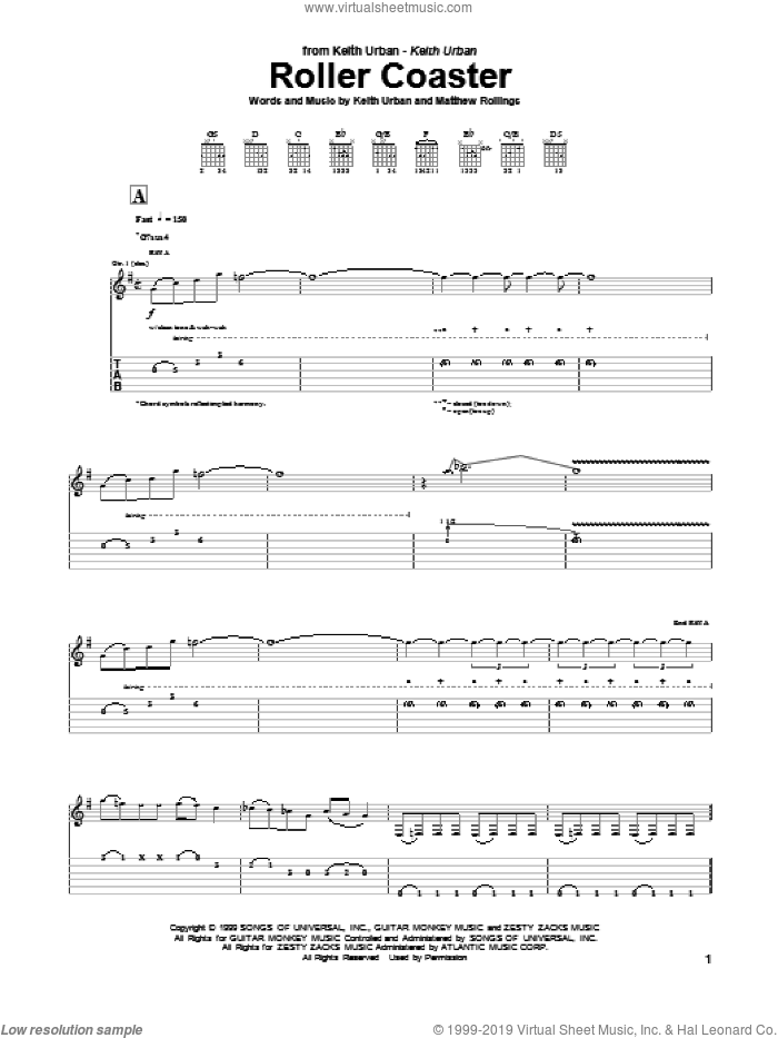 Roller Coaster sheet music for guitar (tablature) by Matthew Rollings and Keith Urban. Score Image Preview.