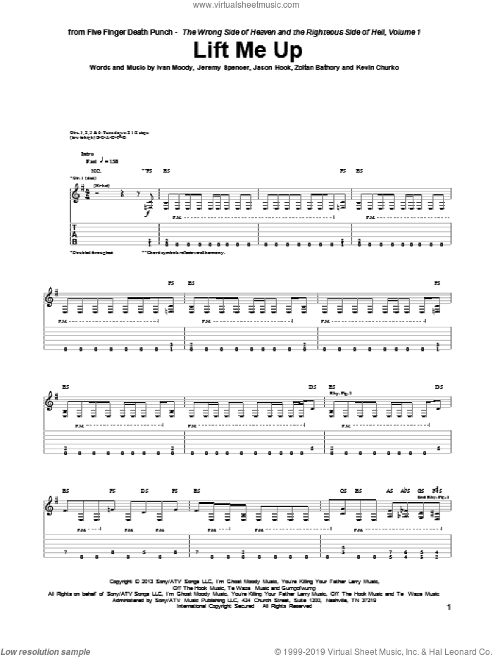 Lift Me Up sheet music for guitar (tablature) by Five Finger Death Punch, Ivan Moody, Jason Hook, Jeremy Spencer, Kevin Churko and Zoltan Bathory, intermediate skill level