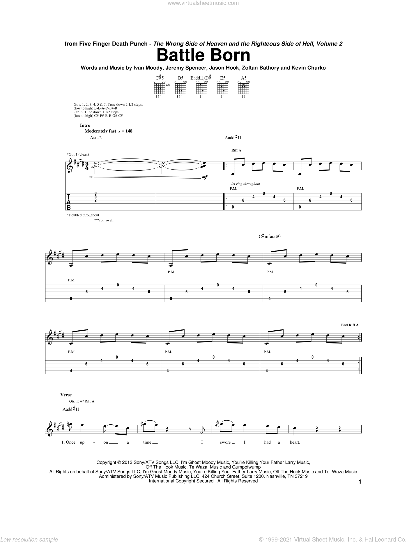 Battle Born sheet music for guitar (tablature) by Five Finger Death Punch. Score Image Preview.