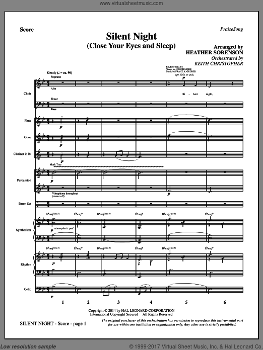 Silent Night (Close Your Eyes and Sleep) (COMPLETE) sheet music for orchestra by John F. Young