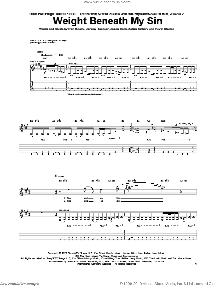 Weight Beneath My Sin sheet music for guitar (tablature) by Zoltan Bathory, Five Finger Death Punch and Kevin Churko. Score Image Preview.