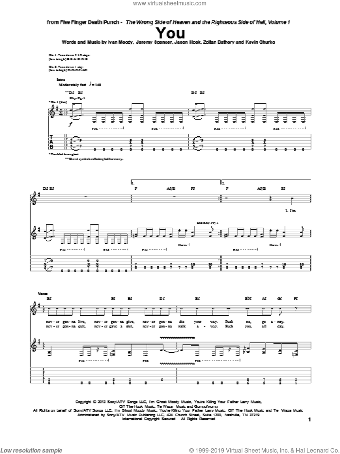 You sheet music for guitar (tablature) by Five Finger Death Punch, Ivan Moody, Jason Hook, Jeremy Spencer, Kevin Churko and Zoltan Bathory, intermediate. Score Image Preview.