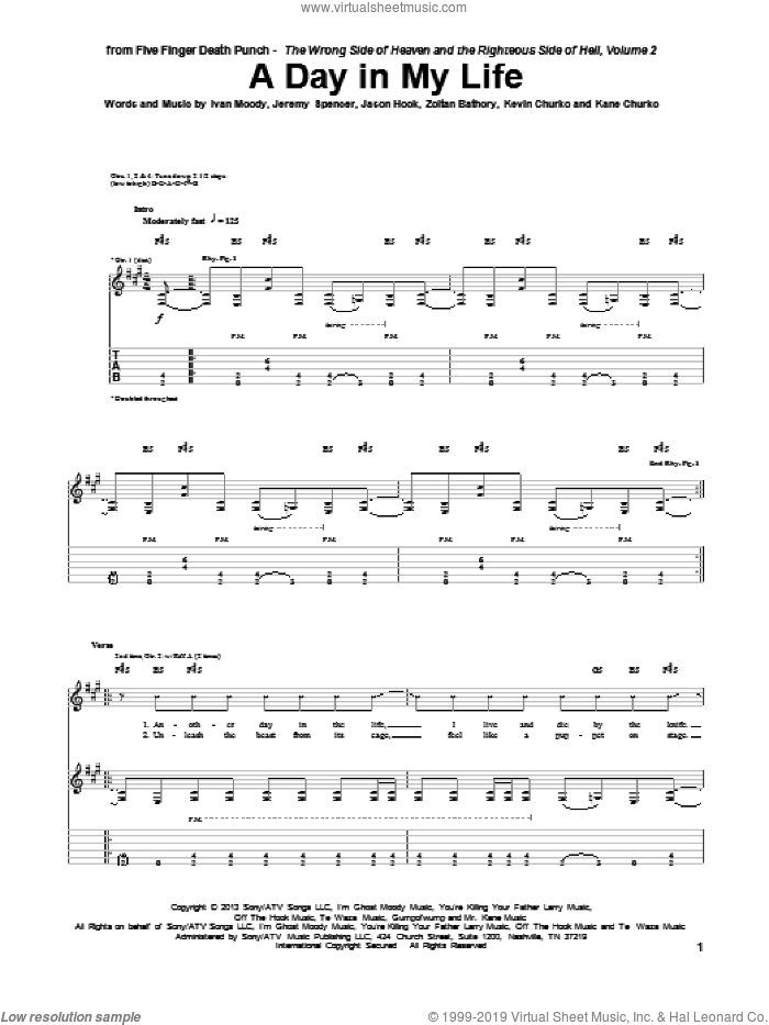 A Day In My Life sheet music for guitar (tablature) by Five Finger Death Punch, intermediate. Score Image Preview.