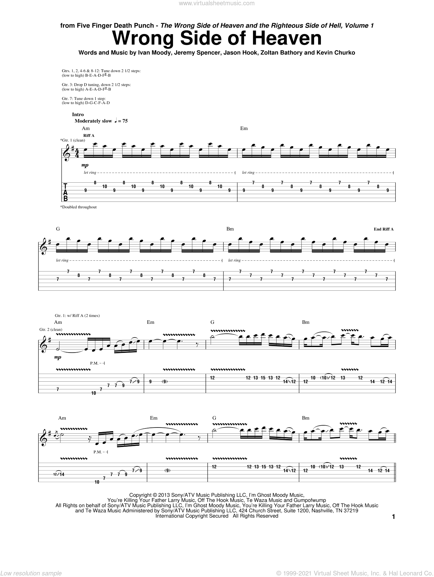Wrong Side Of Heaven sheet music for guitar (tablature) by Five Finger Death Punch, intermediate. Score Image Preview.