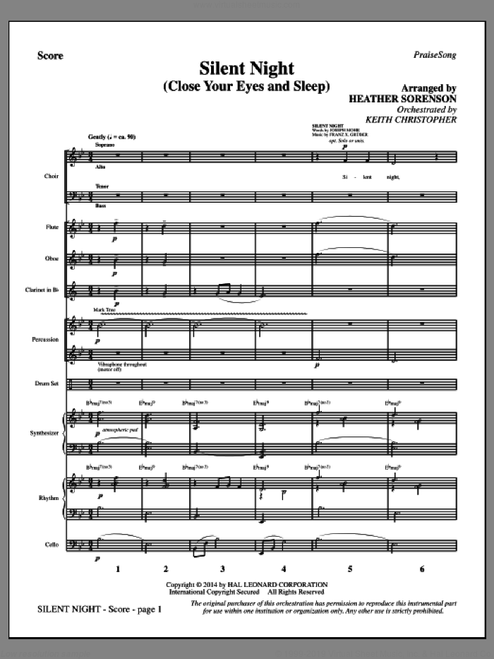 Silent Night (Close Your Eyes and Sleep) (COMPLETE) sheet music for orchestra/band by Franz Gruber, Heather Sorenson, John F. Young and Joseph Mohr, intermediate skill level
