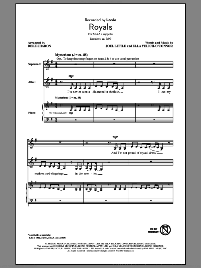 Royals sheet music for choir (SSA: soprano, alto) by Deke Sharon, Joel Little and Lorde, intermediate skill level