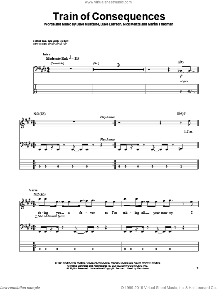 Train Of Consequences sheet music for bass (tablature) (bass guitar) by Nick Menza, Dave Mustaine and Megadeth. Score Image Preview.