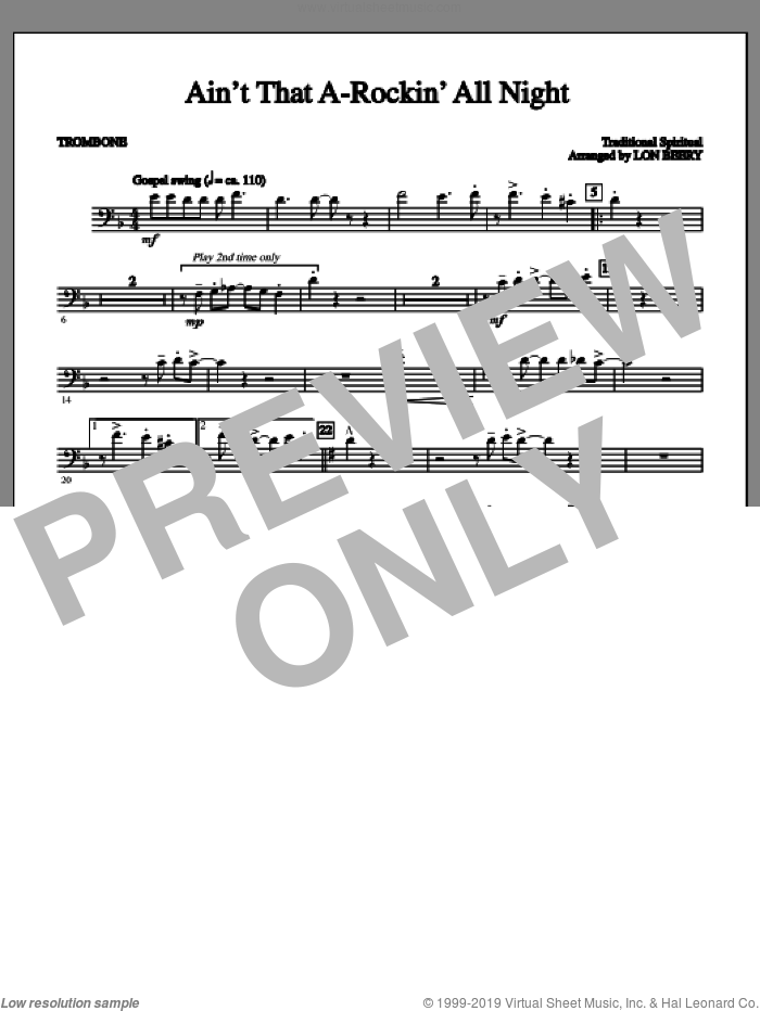 Ain't That A-rockin' All Night sheet music for orchestra/band (c trombone 1) by Lon Beery and Miscellaneous. Score Image Preview.