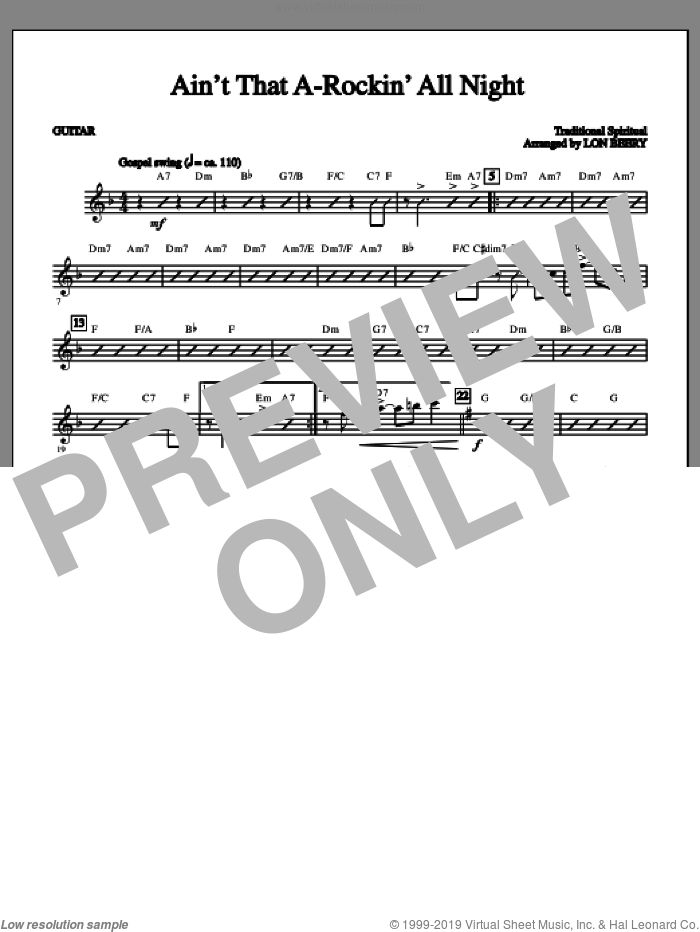Ain't That A-rockin' All Night sheet music for orchestra/band (guitar 1) by Lon Beery and Miscellaneous. Score Image Preview.