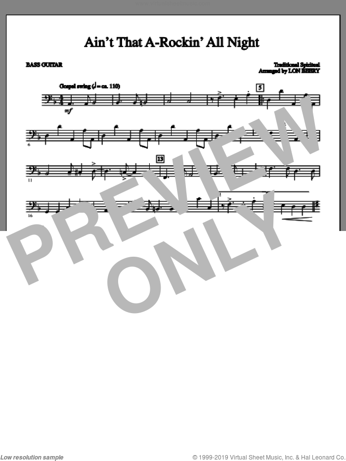 Ain't That A-rockin' All Night sheet music for orchestra/band (bass, c) by Lon Beery and Miscellaneous. Score Image Preview.