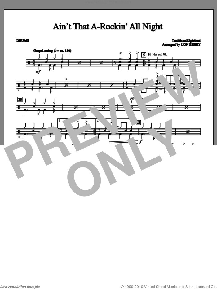 Ain't That A-rockin' All Night sheet music for orchestra/band (drums) by Lon Beery and Miscellaneous, intermediate orchestra/band (drums). Score Image Preview.