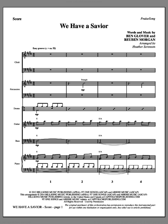 We Have a Savior sheet music for orchestra/band (full score) by Heather Sorenson, Ben Glover, Hillsong and Reuben Morgan. Score Image Preview.