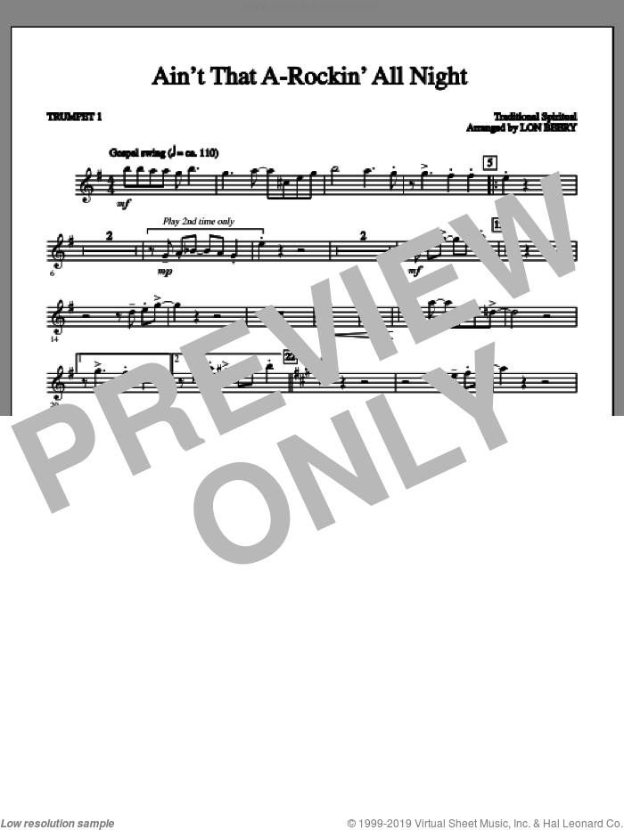 Ain't That A-rockin' All Night sheet music for orchestra/band (part 1 - trumpet) by Lon Beery and Miscellaneous, intermediate. Score Image Preview.