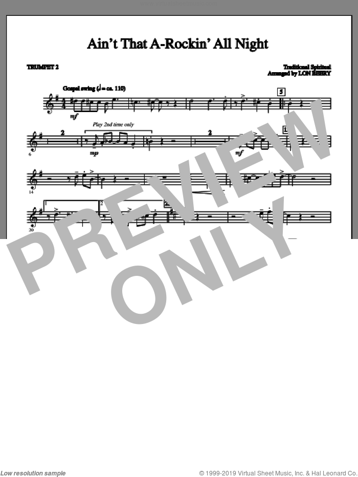 Ain't That A-rockin' All Night sheet music for orchestra/band (part 2 - trumpet) by Lon Beery and Miscellaneous. Score Image Preview.