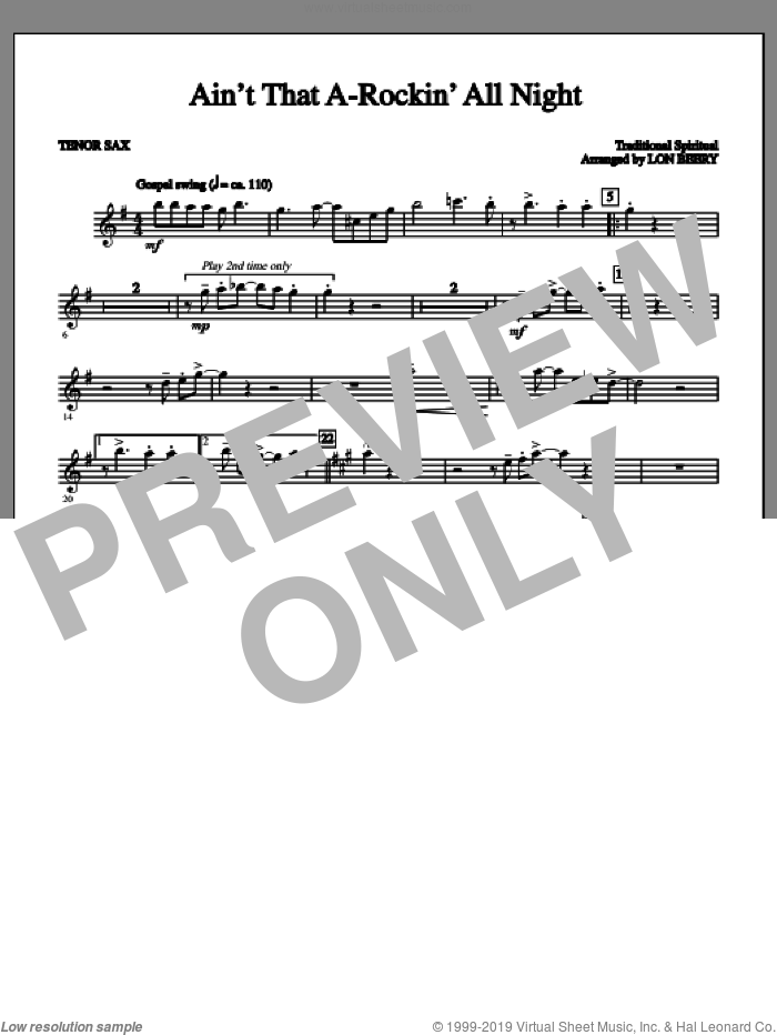Ain't That A-rockin' All Night sheet music for orchestra/band (tenor sax 1) by Lon Beery and Miscellaneous. Score Image Preview.