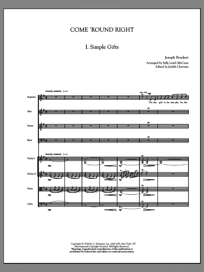 Come 'Round Right; A Folk Song Suite (COMPLETE) sheet music for orchestra/band by Judith Clurman and Sally Lamb McCune, intermediate skill level
