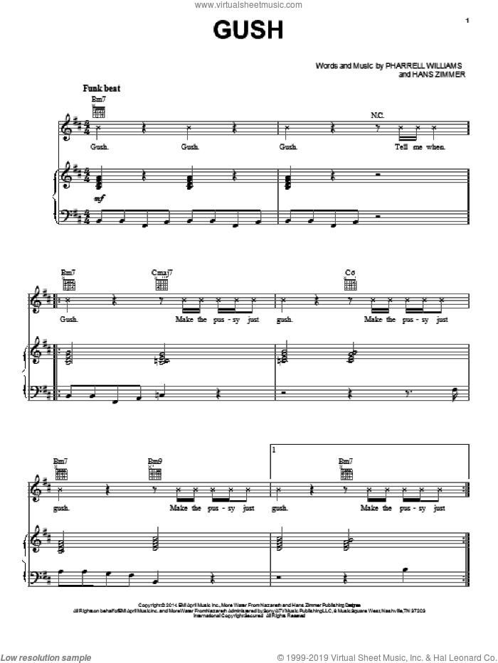 Gush sheet music for voice, piano or guitar by Pharrell Williams, Pharrell and Hans Zimmer, intermediate skill level