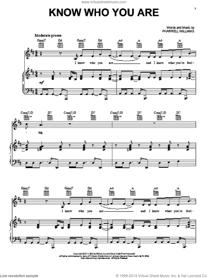 Know Who You Are sheet music for voice, piano or guitar by Pharrell Williams and Pharrell. Score Image Preview.