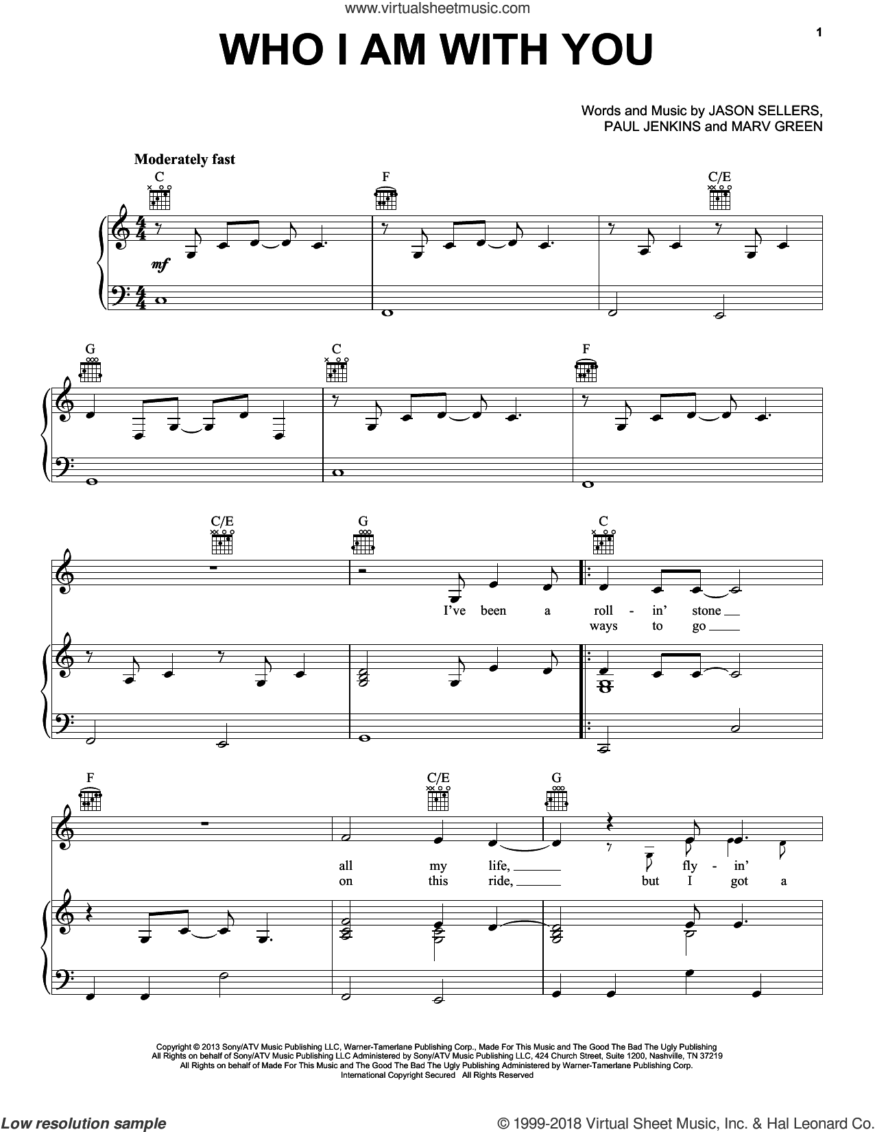Who I Am With You sheet music for voice, piano or guitar by Chris Young, Jason Sellers, Marv Green and Paul Jenkins, intermediate skill level