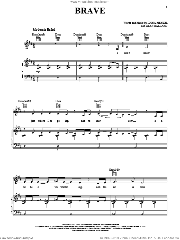 Brave sheet music for voice, piano or guitar by Idina Menzel and Glen Ballard, intermediate skill level