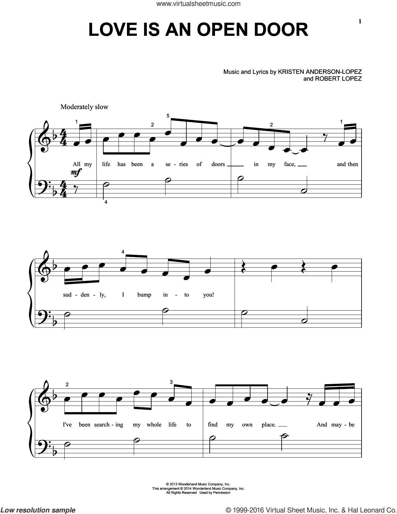 Love Is An Open Door sheet music for piano solo (big note book) by Robert Lopez, Kristen Anderson-Lopez and Kristen Bell & Santino Fontana. Score Image Preview.