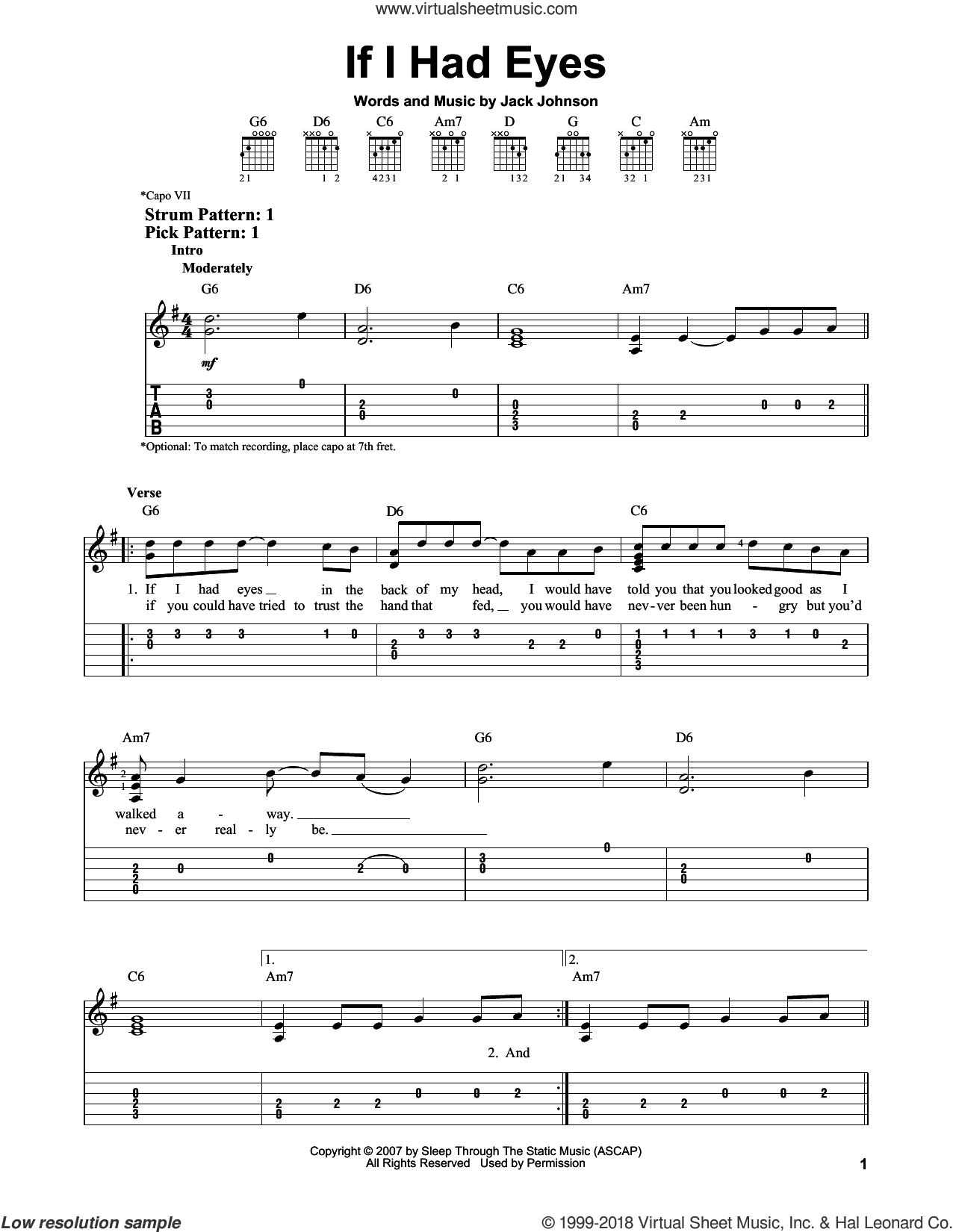 If I Had Eyes sheet music for guitar solo (easy tablature) by Jack Johnson, easy guitar (easy tablature)
