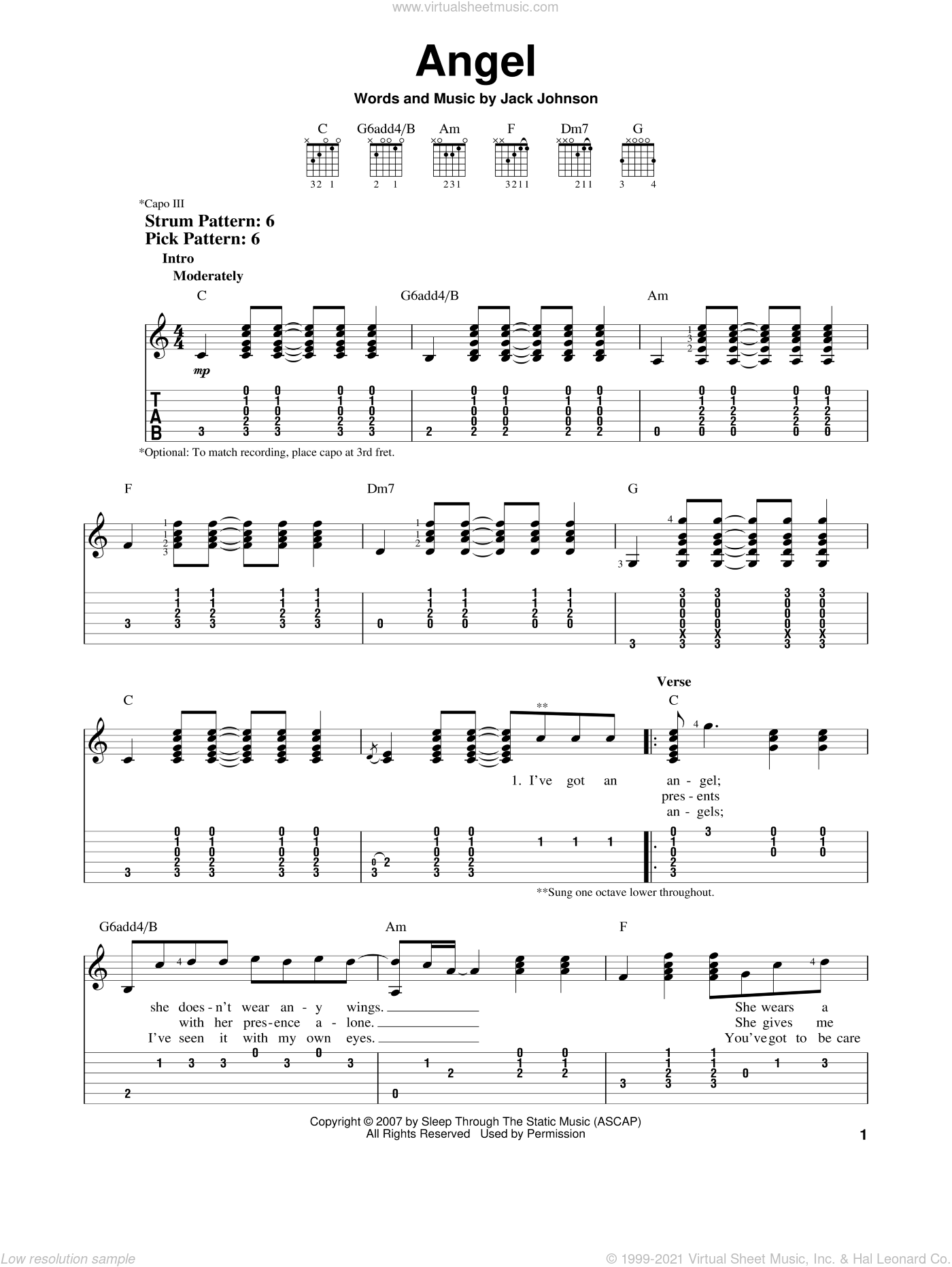 Angel sheet music for guitar solo (easy tablature) by Jack Johnson, easy guitar (easy tablature)